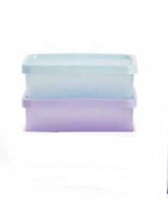 BNIP TUPPERWARE SNACK ON THE GO SET Of 2 Light Blue And Purple
