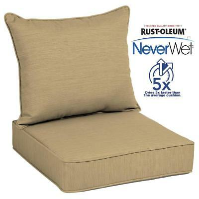 Allen Roth Water Resistant 2 Piece Deep Seat Patio Chair Cushion Solid Beige