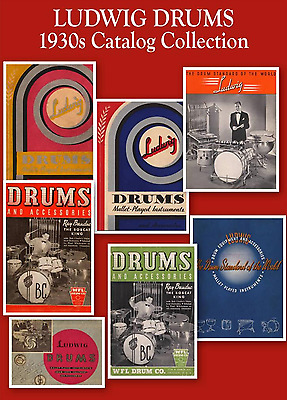 VTG 1930s LUDWIG DRUM SET Snare Kit Cymbal CATALOG SET & Prices ~ on CD