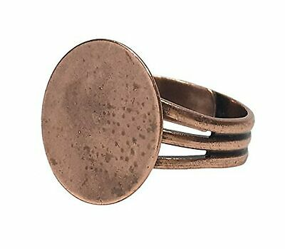 Antique Copper Plated Adjustable Ring Blanks with 16 mm Glue on Pad - 12 Adju...