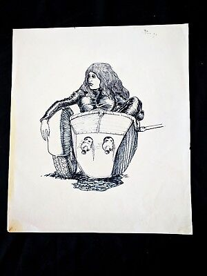 Planet of the Vampires 1965 Hand Inked Concept Drawing SIGNED Rare Unique