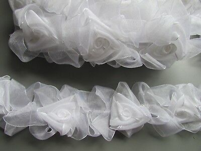White Stretch Elasticated Flower Rose  Trim Sewing/Costume/Corset/Bridal