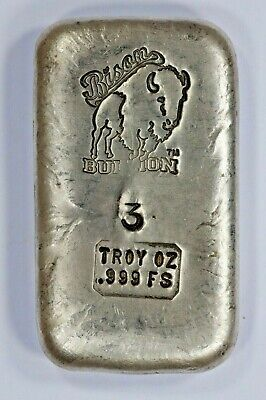 3 Tr Oz .999 Fine Silver Hand Poured Bison Bullion Standard Bar Nebraska Gen 2.5