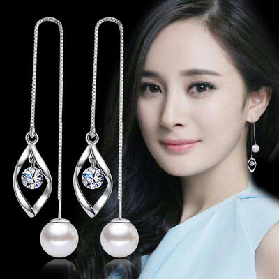 925 Sterling Silver Pearl Crystal Ear Line Tassel Earrings For Women Charm Gift