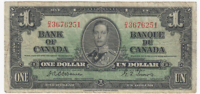 1937 Bank of Canada $1 Banknote - BC-21a - S/N D/A3676251