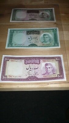 3 Banknotes from Iran, Asia. 20, 50, 100 Rials. Uncirculated. Very Beautiful.