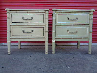 Vtg Pair Authentic TLC Henry Link Faux Bamboo Bali Hai Nightstands End Tables