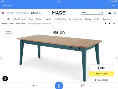 Made Com Ralph Extendable Kitchen Dining Table In Teal 195 00 Picclick Uk