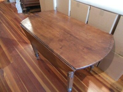 """French Provincial Table Antique French Napoleon III Drop Leaf Table 43"""" diam"""