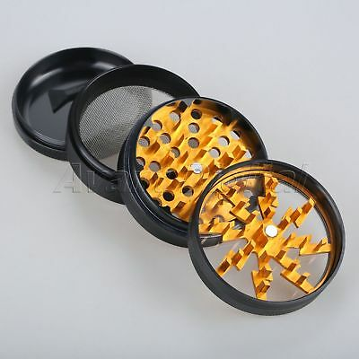 Portable 4 Layers Aluminium Alloy Lightning Smoke Tobacco Herb Grinder Gold