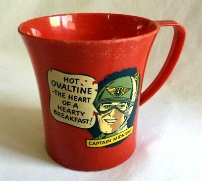 SALE! Vintage Captain Midnight Ovaltine Cup - Red Plastic - Made in U.S.A.