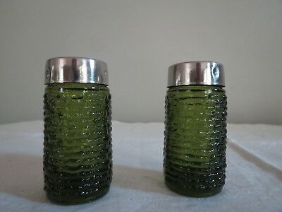 Vintage Green Beveled Glass Heavy Salt And Pepper Shaker So Cool Look