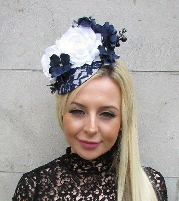 Navy Blue White Hydrangea Rose Flower Feather Hat Fascinator Races Wedding 5762