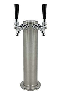 "Kegco 3"" SS Double Faucet Tower DT2F-145S"