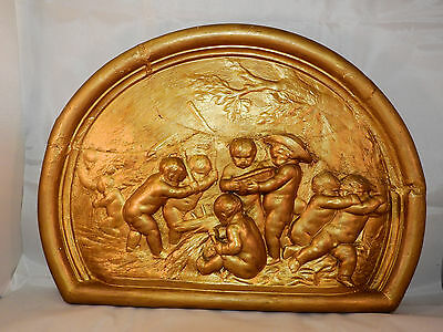 Late 18th century plaster wall plaque in relief with putti, large