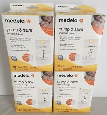 (4)Medela Pump & Save Breastmilk Storage Bags 50 ct with 2 Easy Connect Adapters