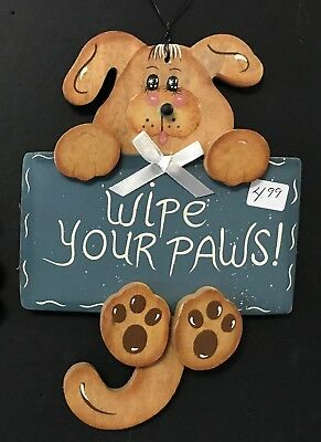 "New Cute DOG SIGN wood WALL hanging PLAQUE ""Wipe Your Paws"" Puppy only 1 left"