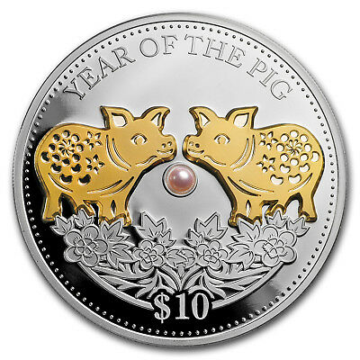 2019 Fiji 1 oz Silver Year of the Pig (Gold Gilded w/Pearl) - SKU#168295