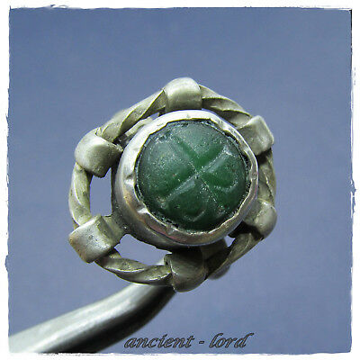 ** CROSS -GREEN STONE**  beautiful INTAGLIO ancient SILVER BYZANTINE ring !!!
