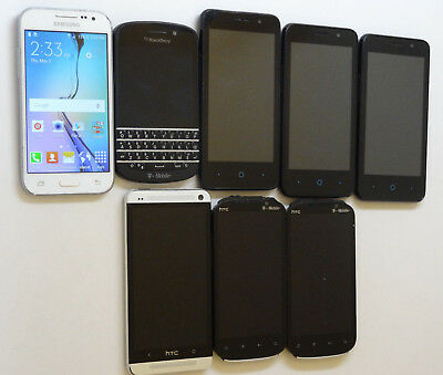 Lot of 8 GSM Smartphones 5 T-mobile & 3 MetroPCS Most Power On AS-IS
