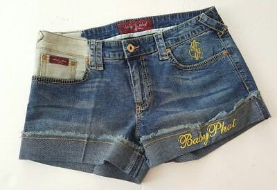 Baby Phat Denim Shorts Distressed Gold Embroidery Size 9 (33)
