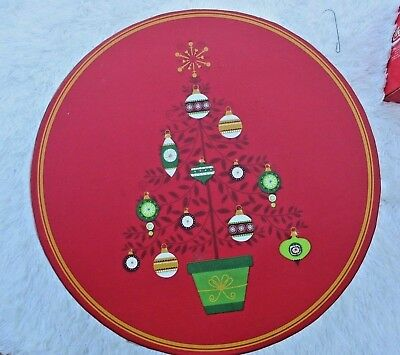 Hat Box Storage Christmas Ornaments Round Red and Green Vintage 80's