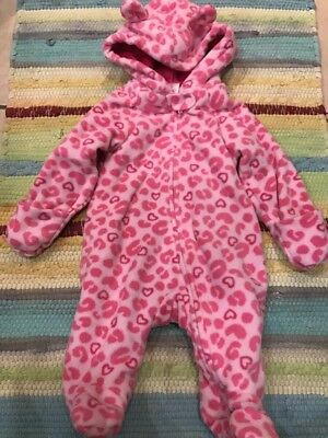 Garanimals Warm Hooded Sleeper Pink Leopard Size 0-3 Mos