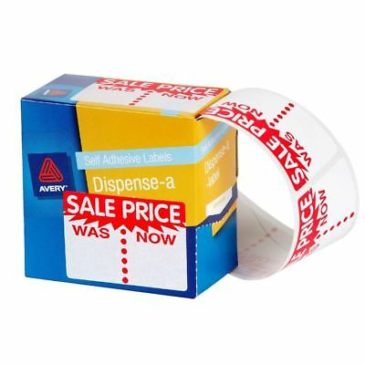 2 x  Avery 937309 Dispenser Labels  'Sale Was/Now'  44mm x 63mm Rectangle 400/Pk