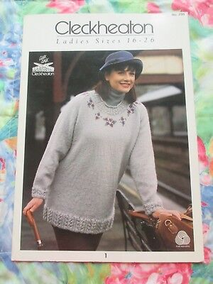 Cleckheaton Knitting Pattern #750 ~ Lady's Jumpers & Cardigan Size 16-26