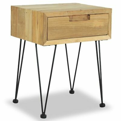 vidaXL Solid Teak Bedside Cabinet 40x30x50cm with Drawer Nightstand Table✓