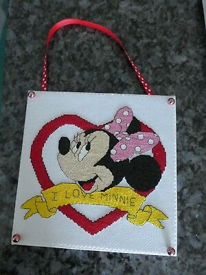 Handmade Cross Stitch Wall Hanging - I Love Minnie Mouse