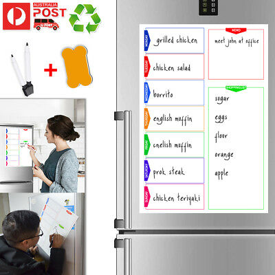 A3 Fridge Magnetic Whiteboard Family Weekly Calendar Planner White Board +2 Pens