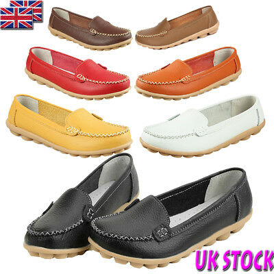 Uk Womens Ladies Flats Slip On Pumps Soft Comfy Work Shoes Loafers Size 2.5-7.5