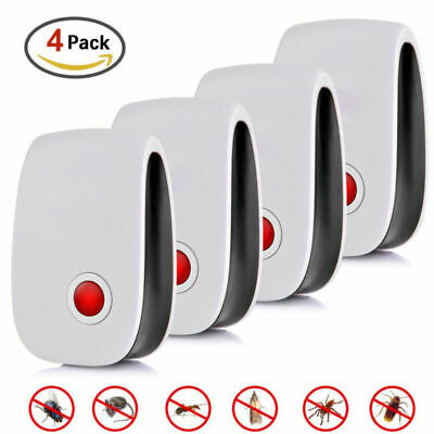 4x Electronic Ultrasonic Pest Reject Repeller Bug Mouse Rat Spider Roach Killer