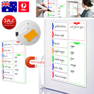 Hot! A3 Magnetic Whiteboard Friend Home Party Weekly Diet Plan Shopping List Kit