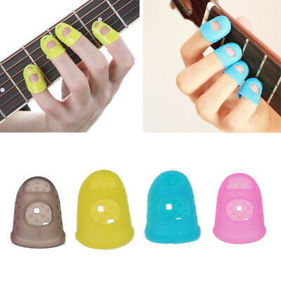 Guitar Finger Protector Fingertip Picks Silicone Guard 4pk Plectrum Bass Ukulele