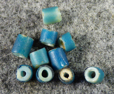(10) Huron Indian Sky Blue White Heart Glass Trade Beads Fur Trade 1700's B