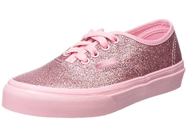 KIDS AUTHENTIC VANS Shimmer Red Sneakers Sz 1.5 Glitter Shoes Laced ... 366308664