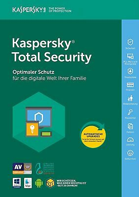 Kaspersky Total Security 2018 1 PC/ 1 Geräte 1 Jahr Vollversion / Android / Mac