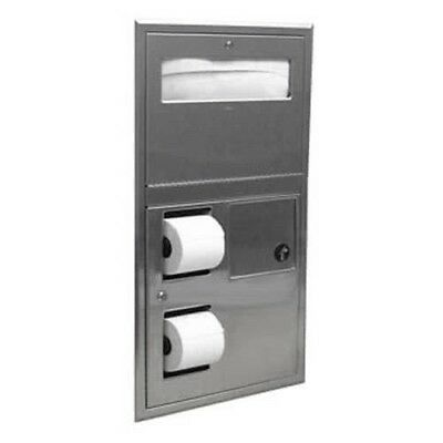 Bobrick B-35745 Stainless Steel Recessed Toilet Paper Dispenser with Trash Can