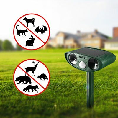 Solar Ultrasonic Repeller Waterproof Pest Animal Cats Repeller Motion Activated