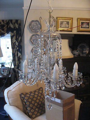 Stunning 5 Branch Antique Circa 1950 Cut Glass Crystal Chandeliers /3989