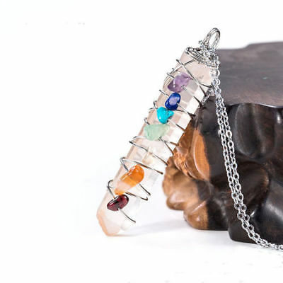 Silver Plated 7 Chakra Wire Wrapped Natural Rock Crystal Quartz Healing Pendant