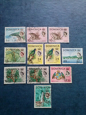 DOMINICA 1963 QUEEN ELIZABETH DEFINITIVE  SET  to $2.40 -USED