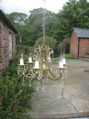 Vintage Antique Style 6 Branch Glass & Brass Chandelier Outstanding Quality 3326