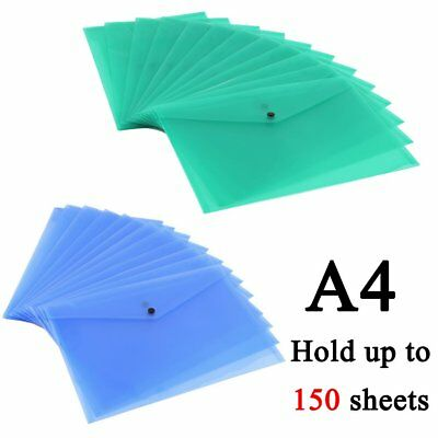 New A4 Plastic Popper Stud Document Wallets Folders Filing Paper Storage Office