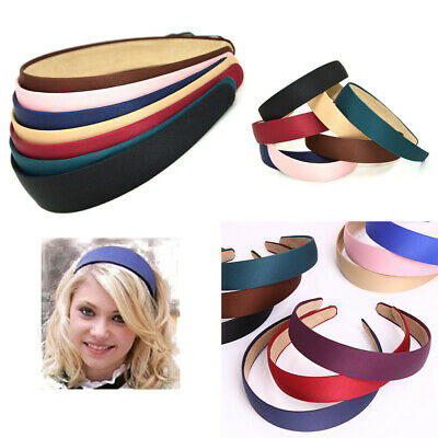 9Colors Womens Girls Wide Plastic Headband Hair Band Satin Headwear Accessory