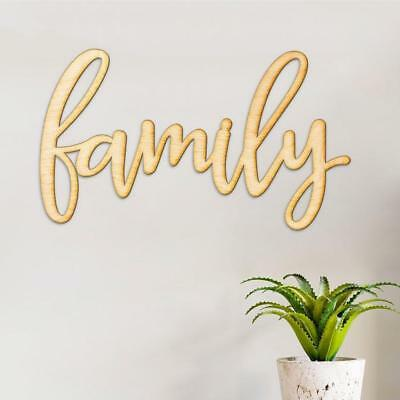 1 x Family Wood Sign Home Décor Wall Art Unfinished 30.5x18x0.4cm