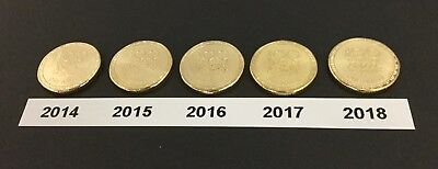100 Years of Anzac - 2014,15,16,17,18 $1 - Coins Uncirculated from RAM Rolls