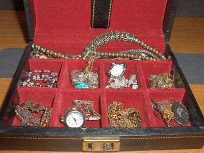 Vintage Jewelry LOT Estate- Jewelry Box-WOMENS NECKLACES, WATCHES,   #-12